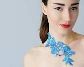 Lasata Blue Necklace Lace Necklace Statement Necklace Lace Fashion Floral Necklace Women Accessory Gift For Her Woman Fashion
