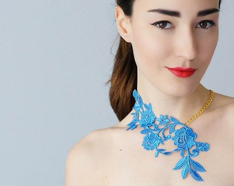 40%OFF Blue Necklace Lace Necklace Statement Necklace Floral Necklace Women Accessory Gift For Her Woman Fashion Gift/ LASATA