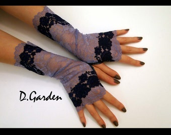 Elegant Lolita Gothic Stylish Stretchy Purple Rose Flower Lace Victorian Sexy Fingerless Gloves / Arm Warmers
