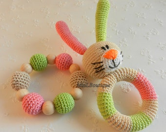 Baby rattle SET of 2 Crochet Baby toy Grasping Teething Toys Bunny Teether Stuffed toys Gift for baby Girls Boys