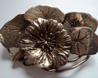Vintage Signed MASJ Silvertone pewter Poppies Brooch/Pin