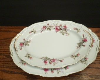 1950's UCAGCO  Moss Rose China Platters Set of Two Made in Japan