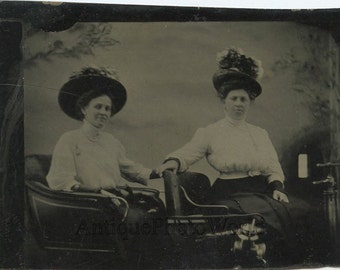 Two women in a car antique tintype photo