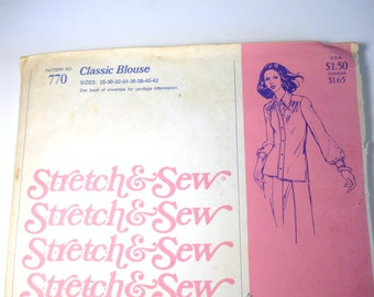 Stretch & Sew 770 Pattern, Classic Blouse, Women's Blouse Pattern, Vintage Women's Shirt Pattern, Size 28 to 42