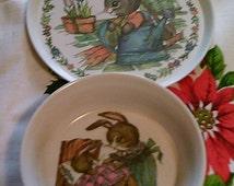 Vintage Child's Dinnerware Melmac 1980 Silite Peter Rabbit Bowl and Plate