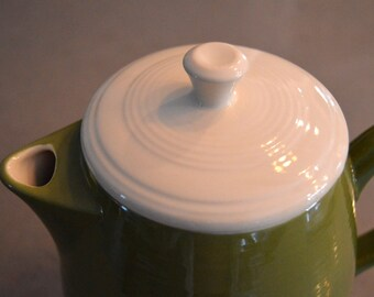 Green and White Stoneware Teapot Coffee Pot