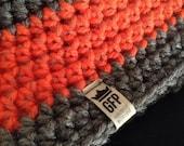 Hunting Season! Camo Beanie with Orange Reflective Yarn