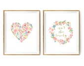Flower Nursery Print Set - Isn't She Lovely - Print for a Baby Girl's Nursery - Set of 2 Print 5% Discount - Instant Download Wall Art