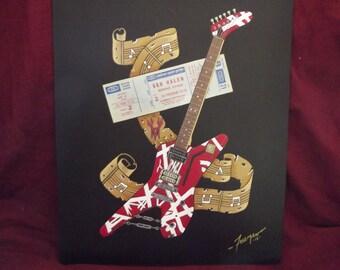"Ibanez Destroyer Van Halen Guitar Art w/concert Ticket is a Numbered Limited Edition 10""x13"" Print of Original Art by artist Charles Freeman"