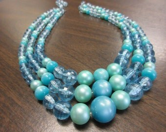 Blue Moonglo 3 Strand necklace