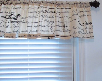 French Script Curtain Valance Natural Black Taupe Window Topper HANDMADE in the USA