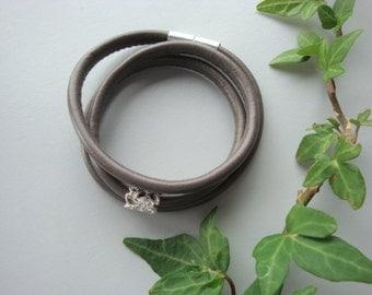 Taupe faux lambskin bracelet