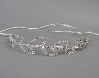 Silver Crystal Leaves  Wedding Headband, Wedding Accessory, Bridal  Headband, Wedding Hair Piece, Hair Headband