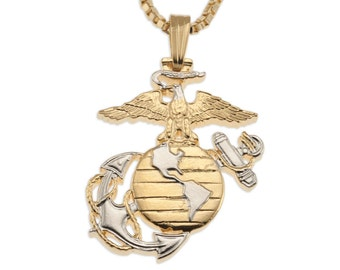 """Marine Military Pendant and Necklace Jewelry, Marine Challenge Coin hand Cut, 14Kart Gold  and Rhodium Plated, 1"""" in Diameter, ( # 793 )"""