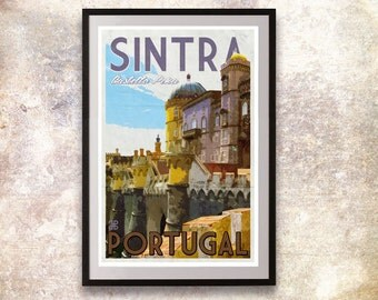 Portugal - Sintra Retro Travel Poster