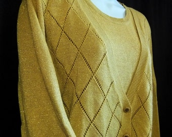 Vintage Alfred Dunner Gold Sparkly Christmas New Years Holiday Layered Look Sweater Size Large