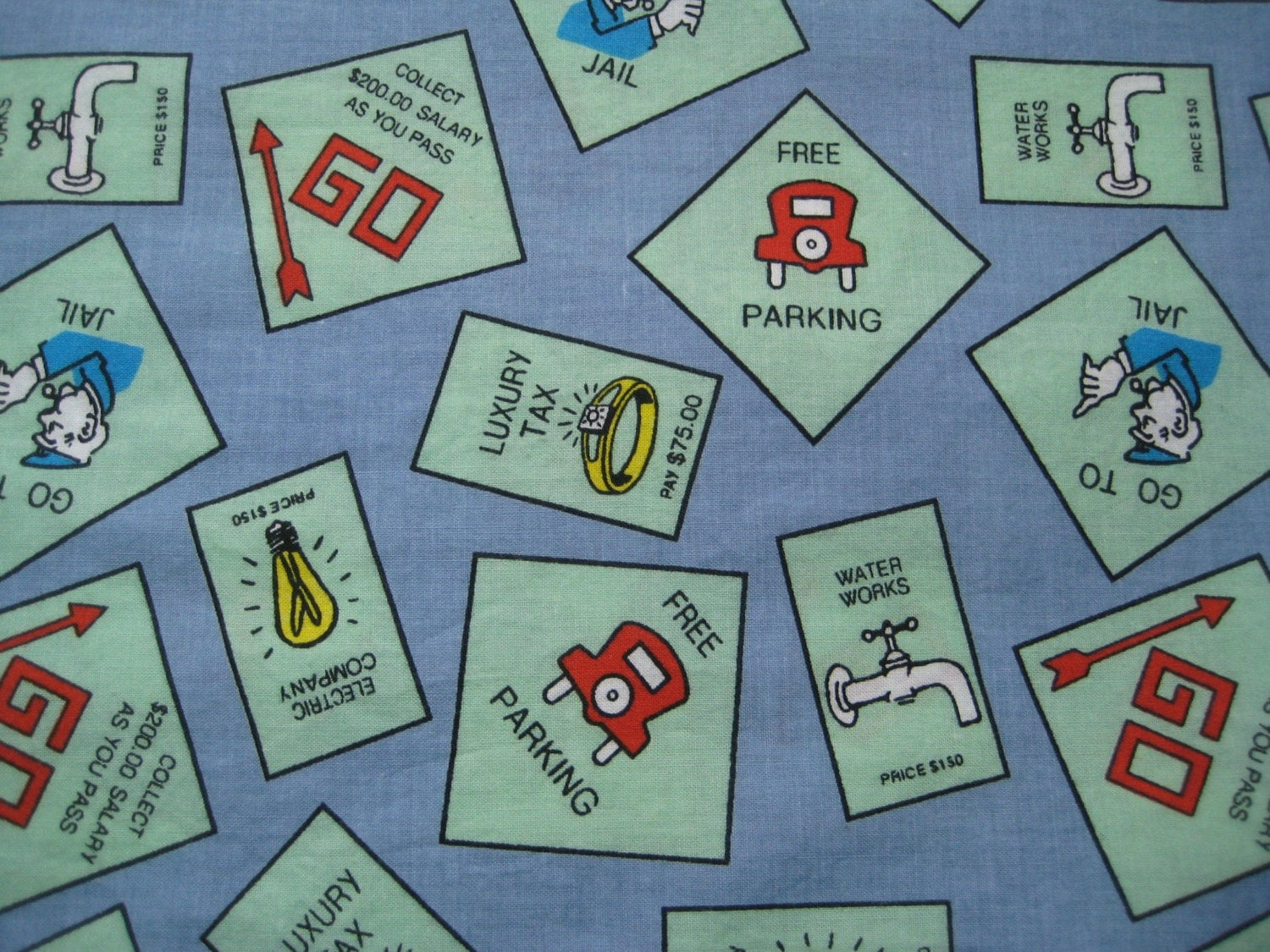 Monopoly game fabric destash kids fabric boy by missussewnsew for Children s upholstery fabric