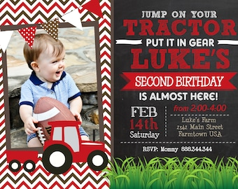 Red Tractor Chevron Chalk Birthday Printable Invitation, Red Tractor, Tractor birthday, Tractor party, Tractor invitation, Tractor invite