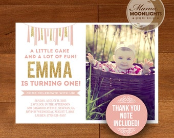 Pink and Gold First Birthday Party Printable Invitation - Thank You Note Included  - DIY One 1st Birthday Invitation Modern Ribbon Glitter