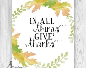In All Things Give Thanks Autumn Art Print, Thanksgiving Art, Fall Decoration, In All Things Give Thanks Fall Art Print or Canvas