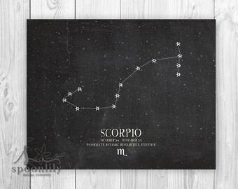 SCORPIO Constellation: Zodiac Print - Star constellation, Constellation Print, Astrology - Home Decor - Wall ART PRINT