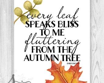 Fall Art Print or Canvas, Farmhouse Fall Decor, Autumn Art Print or Canvas, Emily Bronte Quote, Autumn Wall Art, FALL Art Poster or Canvas