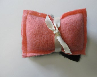 Coral and Black Cashmere Pocket Warmers