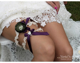 Bridal Flower Jeweled Garter Set Wedding Bridesmaids Lace Garter with Brooches, Crystals, Pearls and Handmade Flowers