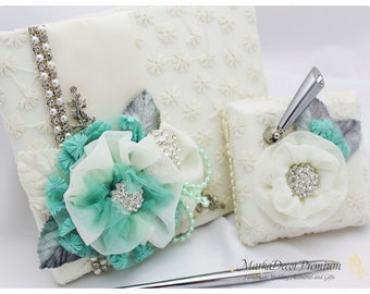 Wedding Lace Guest Book Birthday Book Jeweled Beaded Book Custom Jeweled Bridal Flower Brooch Guest Books in Ivory, Mint