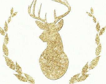 Glitter Holiday Deerhead Silhouette Deer Digital Art Print