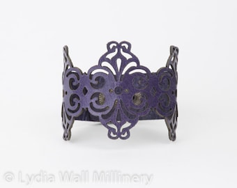 "Laser Cut Leather Bracelet ""Spirals"" in Dark Purple"