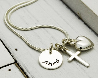 925 Silver christening necklace - cross - name jewelry