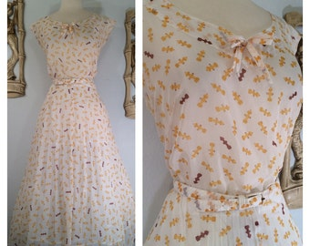 1950s Novelty Print Dress with Matching Belt--Truly Unsual Fire Hydrant Print by Curtis of Florida