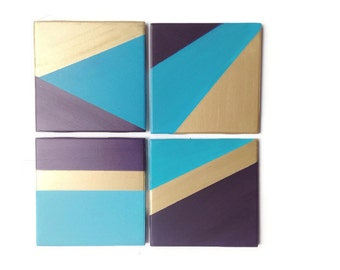 Blue and Gold coasters - Geometric coasters - Set of 4 - Drink Coasters