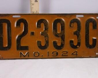"Car Tag Licence Plate Vintage 1924 Missouri "" Rare Automobile Dealers Car Tag"" .epsteam"