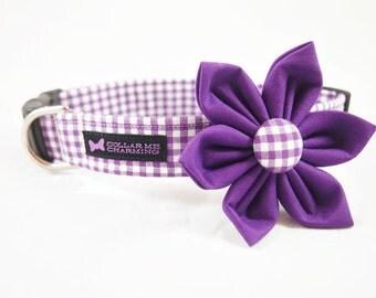 Purple Gingham Collar Flower Set