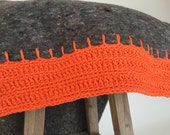 orange and grey huge handmade blanket, custom made crocheted blanket