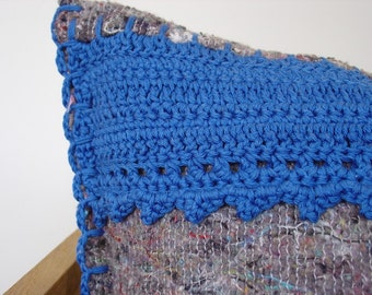 SALE, crocheted pillow, multi-coloured moving blanket with royal blue cotton