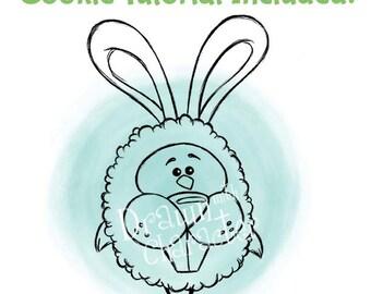 Chick in an Easter Bunny Costume Digital Stamp Art/ KopyKake Image-  SP55-CHICK