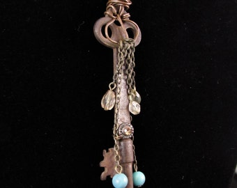 Upcycled Charm Skeleton Key Necklace