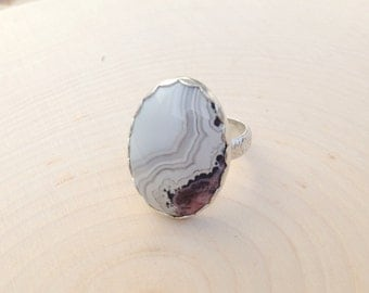 Sterling Crazy Lace Agate Ring
