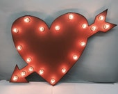 CUPID VALENTINE HEART with arrow Lighted Marquee Wedding Love Sign made of Rusted Recycled Metal Vintage Inspired