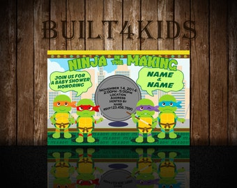 Teenage Mutant  Ninja Turtles Baby Shower Invitation/ Invite