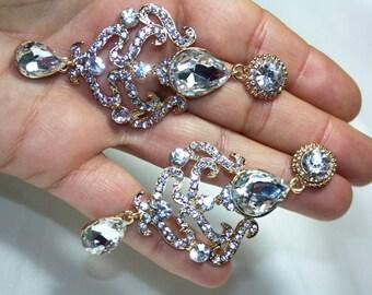 Clear Austrian Crystal Chandelier Earrings Rhinestone Bridal Prom Pageant 3.4