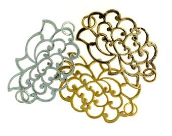 Copper Lotus Pendant, Lotus Pendant, Copper Pendant - 1 Piece Size: Approx. 40mm x 25mm