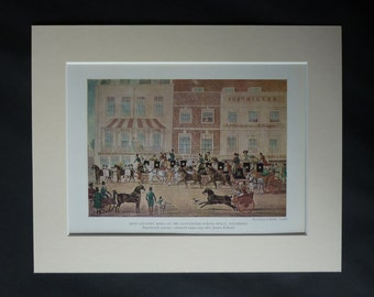 Antique James Pollard Print, Available Framed, Equine Art, Piccadilly Circus, London Decor, Mail Coaches, Historic Equestrian Gift Horse Art