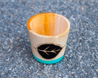Turquoise wooden cup woodburning**Made to order