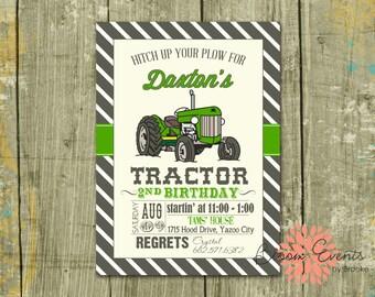 Green Vintage Tractor Bash Invitation - Green, Brown, Stripe
