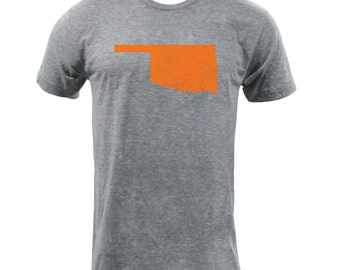 Distressed Oklahoma State Shape - Athletic Grey