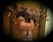Primitive  Folk Art Kitty Cat Ornie  Picks Set of 3